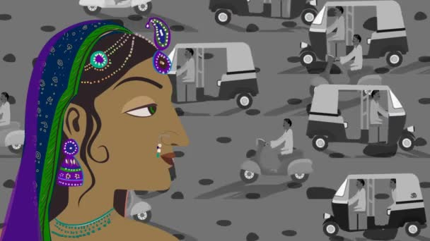 Traffic and Traditional Indian Hindu Woman in a Busy Street