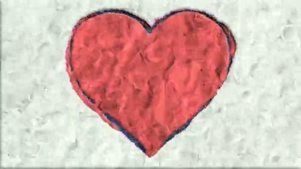 Velké srdce z hlíny v Stop-Motion