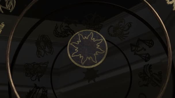 Sternzeichen im Inneren ein goldenes Rad mit Plexus