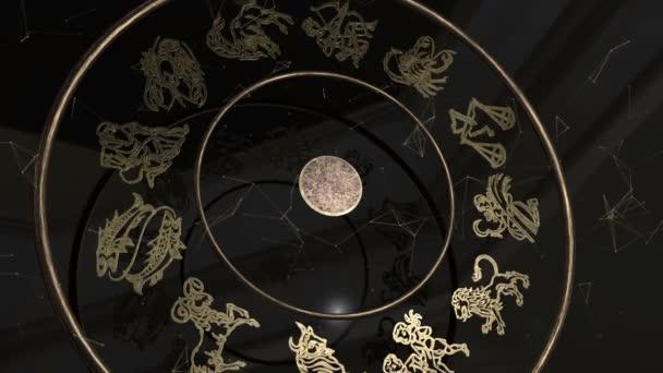 Alle Tierkreiszeichen im Inneren ein goldenes Rad