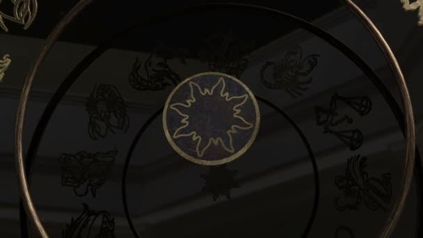 Goldene Tierkreiszeichen im Inneren eines Rades