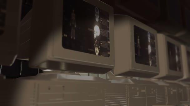 Staré počítačové monitory v laboratoři analyzovat vědecké experimenty
