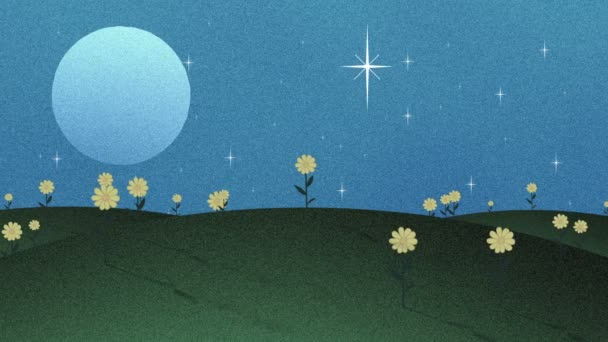 Full Moon hvězdy a květiny v Papercut animaci