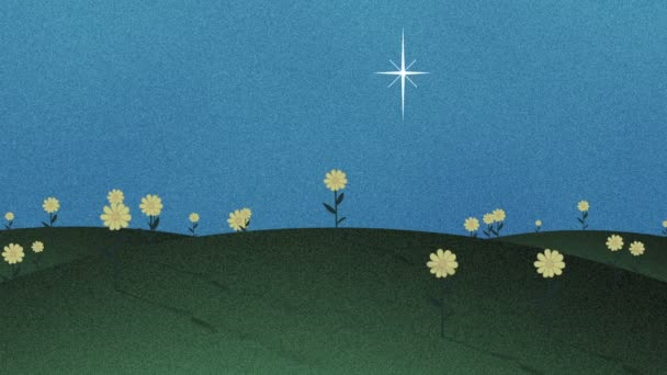 Zelená pole a šplhat hvězdy Retro Vystřižení pozadí