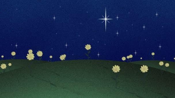 Zelená pole a šplhat hvězdy Retro Papercut pozadí