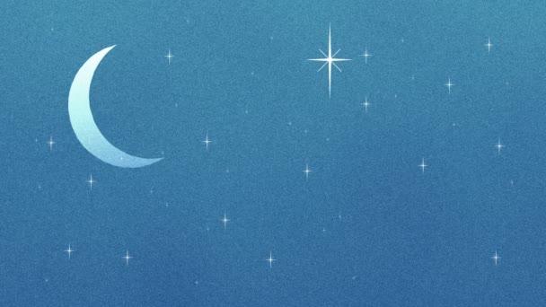 Félhold és csillogó csillag Retro rajzfilm stílusú