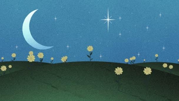 Půlměsíc hvězdy a květiny ve stylu Papercut
