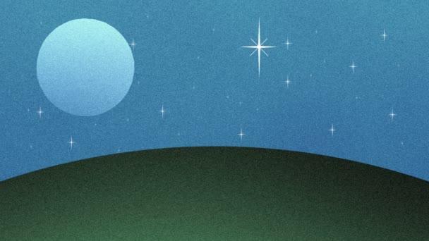 Full Moon and Stars im Retro-Cartoon-Stil