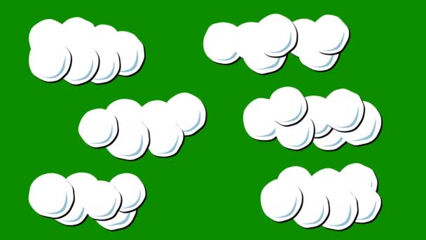 A Set of Clouds Animation in Cartoon Style on a Green Screen Background