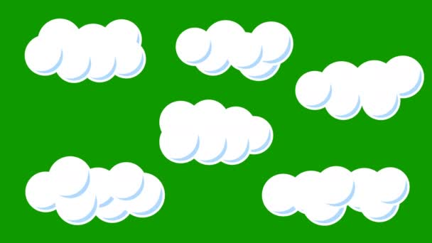A Set of Cute Cartoon Clouds on a Green Screen Background