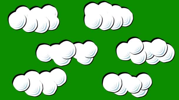 A Set of Puffy Cartoon Clouds on a Green Screen Background
