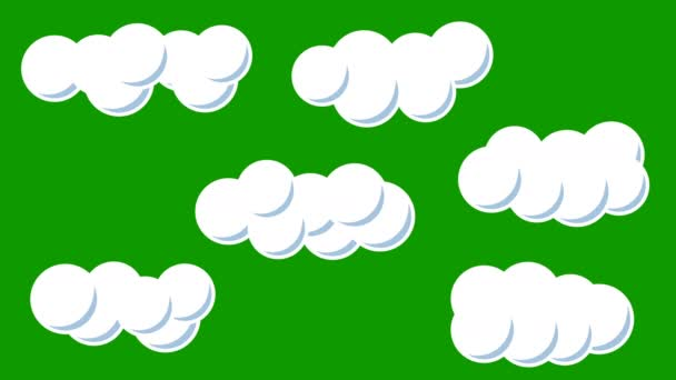 A Set of Cartoon Clouds in Stop Motion Style on a Green Screen Background