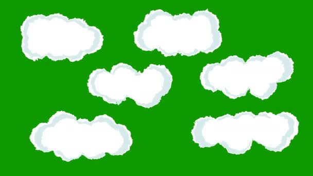 A Set of Cartoon Clouds Retro Style on a Green Screen Background