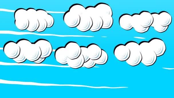 weiße flauschige Cartoon-Wolken am blauen Himmel im Stop-Motion-Stil