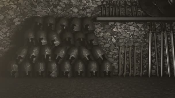 Medieval Armory with Helmets Swords Axes and Shields