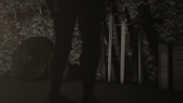 Knight Standing in Front of Swords to Choose