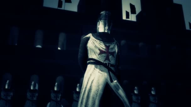 Knights of the Templar in Full Armor in a Fortress