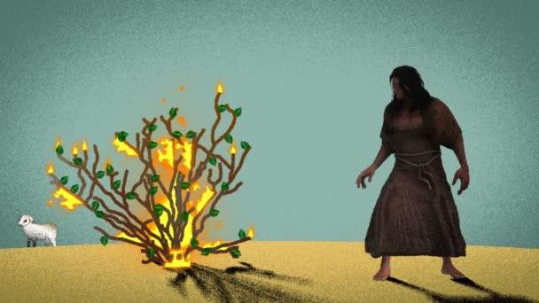 Mojžíš stojící před hořícím Bushem v poušti s jehněčím na pozadí