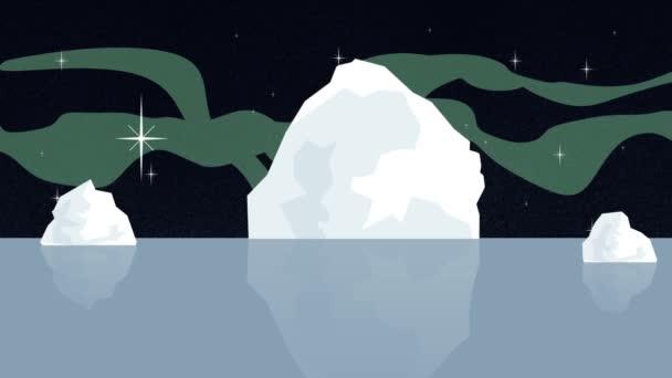 Eisberg der globalen Erwärmung schmilzt mit Nordlichtern