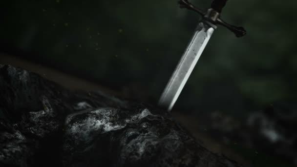 der legendäre Excalibur in einem Felsen