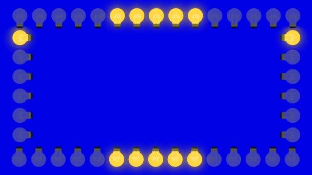 Frame of Light Bulbs on a Blue Screen