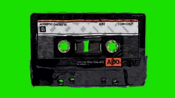 Karikatúra audio kazetta-ban megáll jelet ad-ra egy zöld képernyő háttér