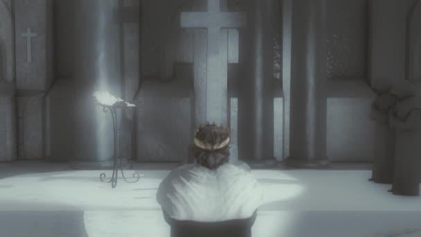Középkori király a térdén Imádkozik a kereszt előtt egy templomban vagy egy kolostorban