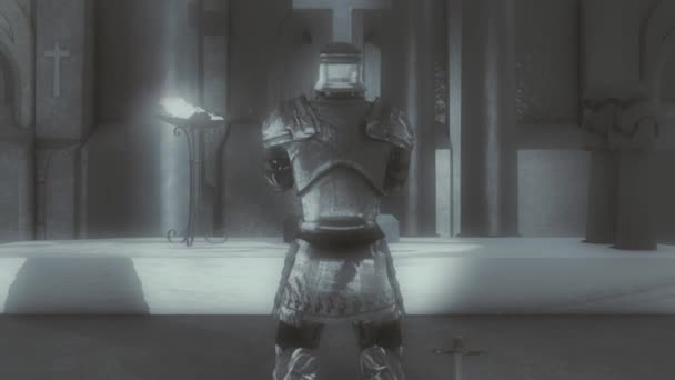 Medieval Paladin Knight on His Knees Praying Inside a Church or a Monastery