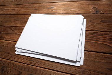 White business cards on wooden table