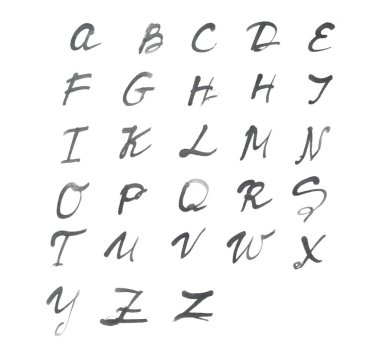 The alphabet written on white paper