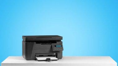 Printer copier machine on bright blue background