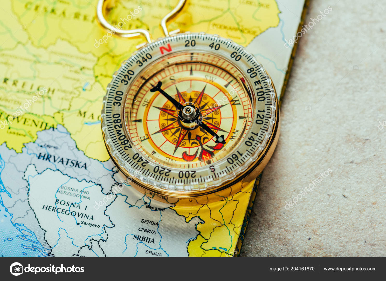 Compass World Map Close View Stock Photo C Fotofabrika 204161670