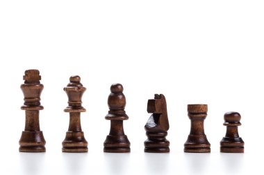 chess pieces isolated on white background, close-up