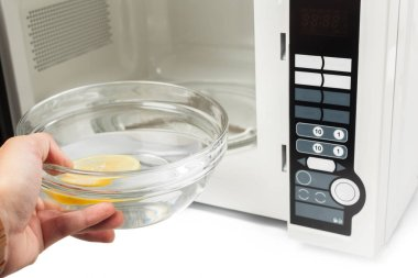Microwave oven isolated on white.