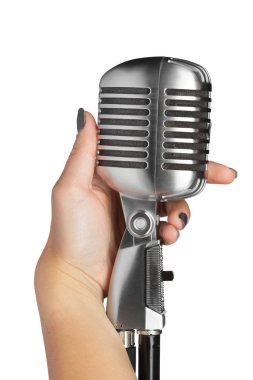 woman with audio microphone retro style
