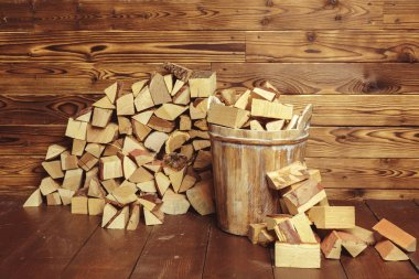 Pile of firewood on background,close up