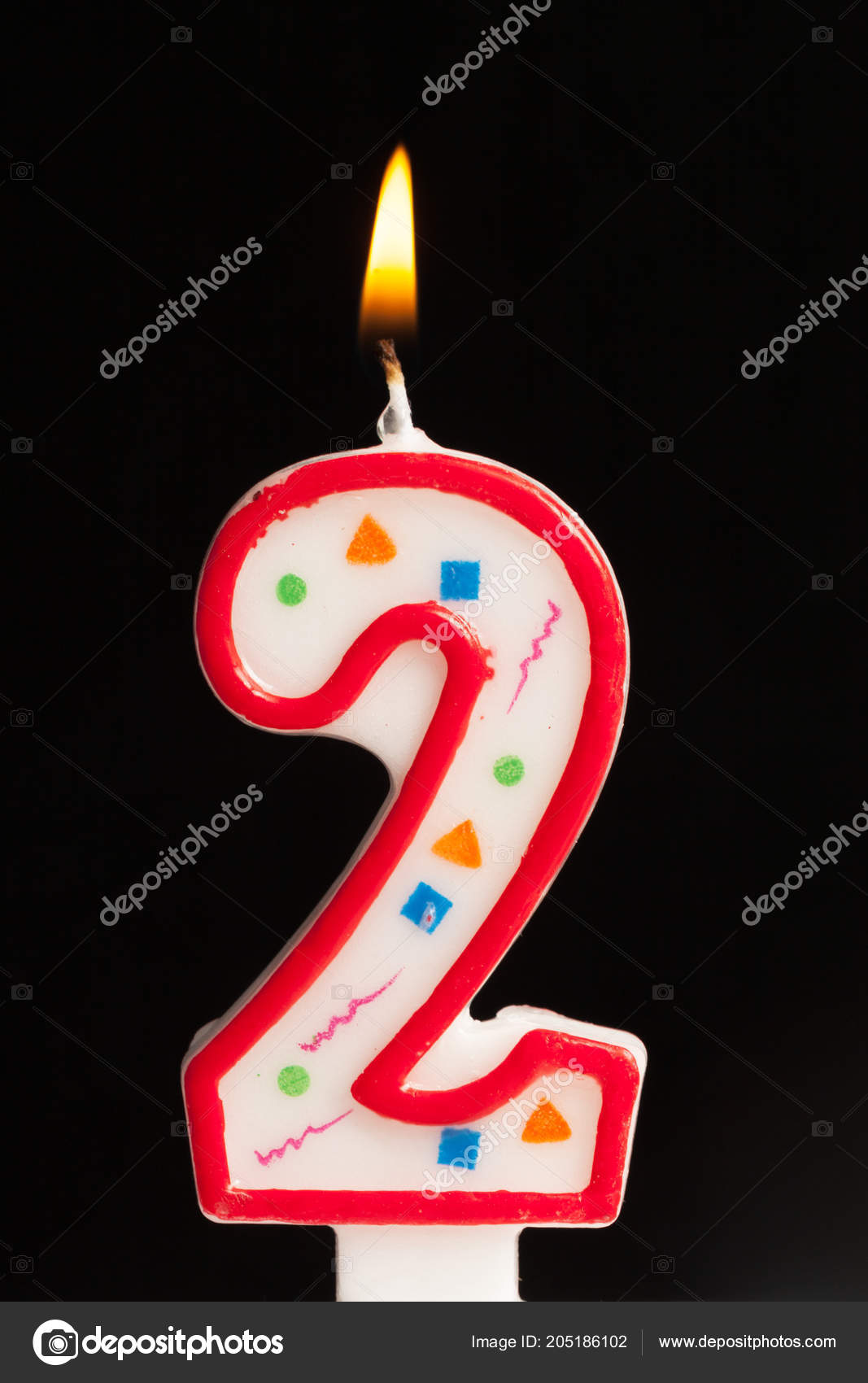 Birthday Candles Number 2 On Black Background Stock Image