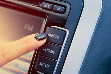 Modern luxury car dashboard with big display