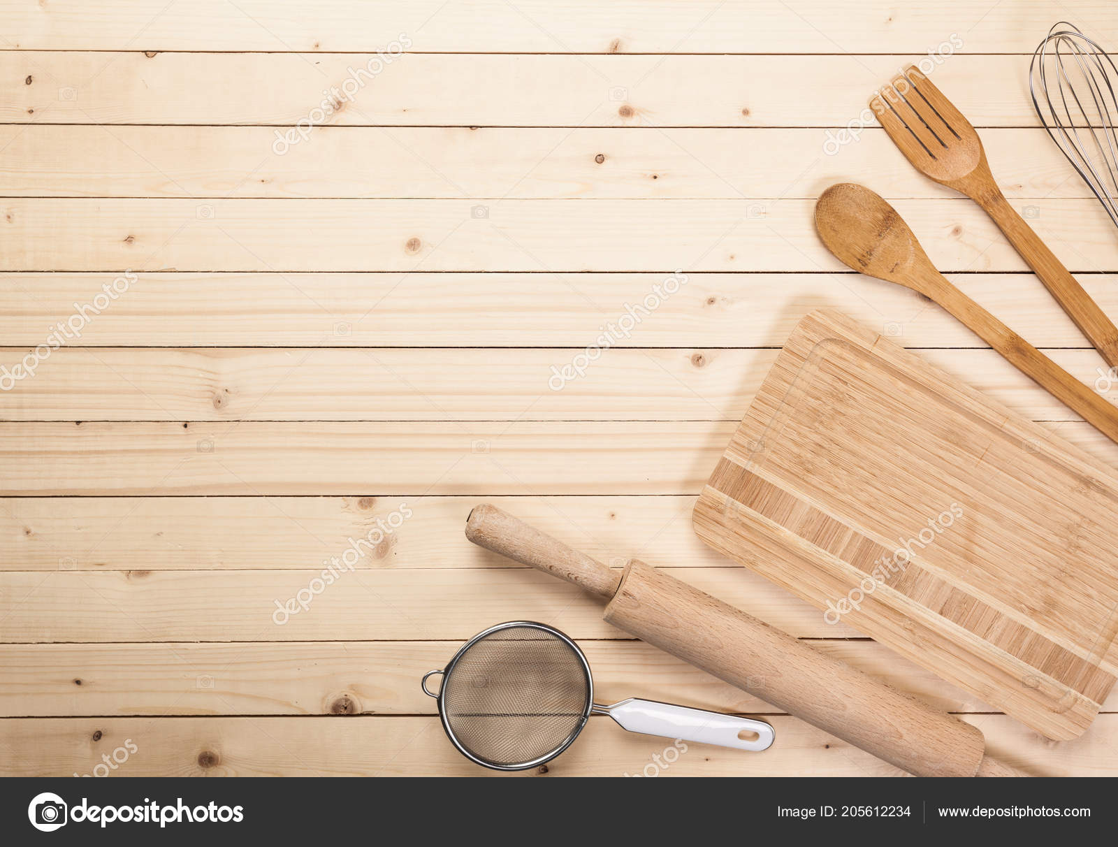 Various Wooden Kitchen Utensils Table Top View Stock Photo by ...