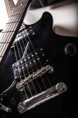 close-up view of electric guitar parts