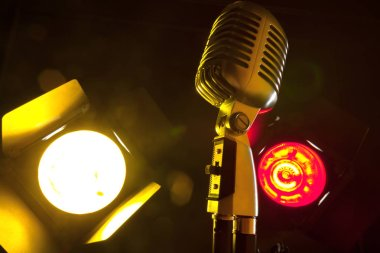 audio microphone in retro style with lighting