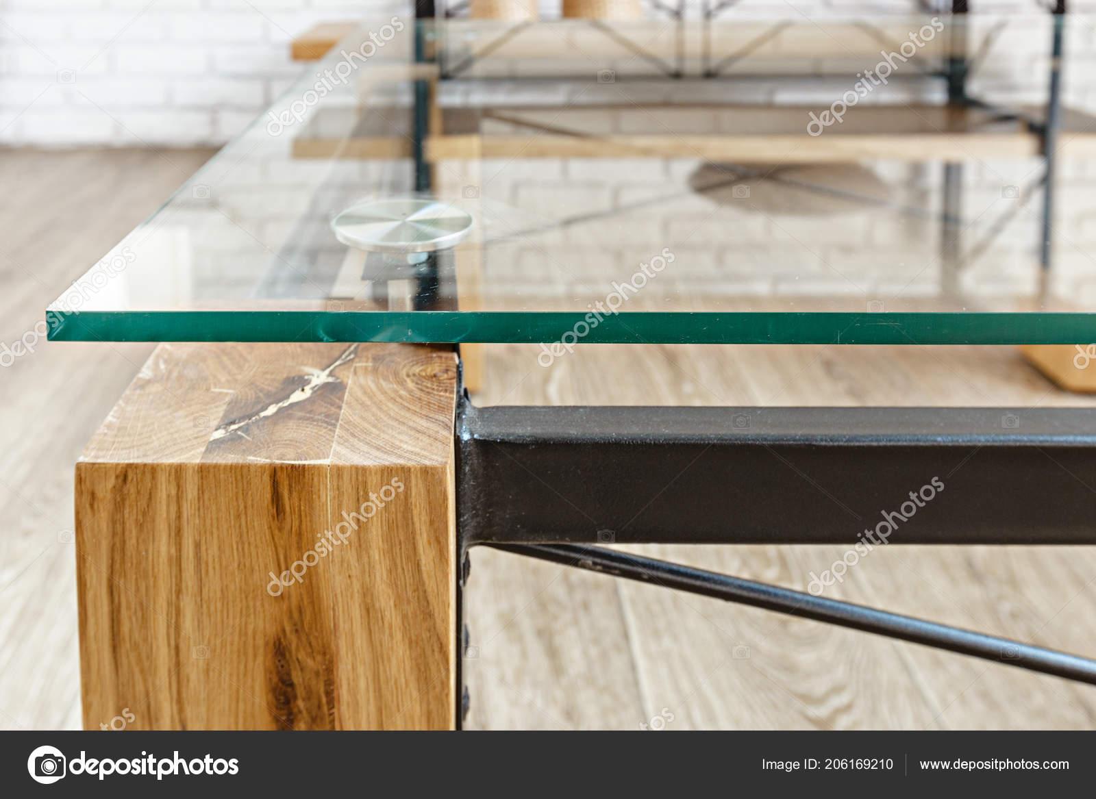 Modern glass table loft interior u stockfoto fotofabrika