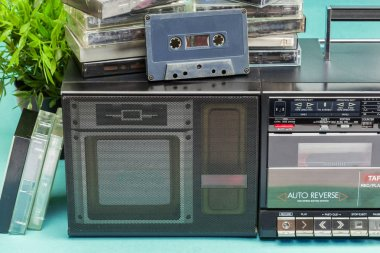 cassette player on background,close up