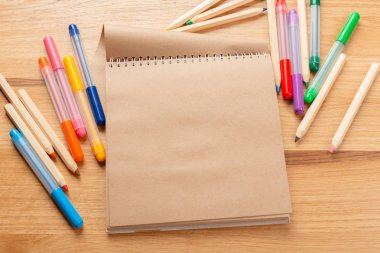 school and office supplies. school background, close-up view