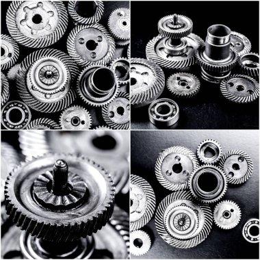 few automotive parts collage, close-up view