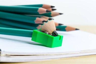 pencil sharpener and pencils, close up view