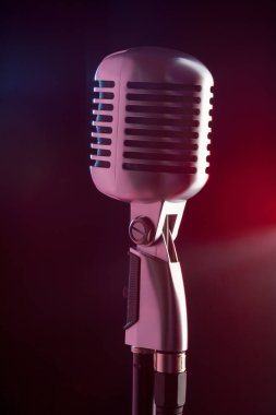 close-up view of audio microphone retro style