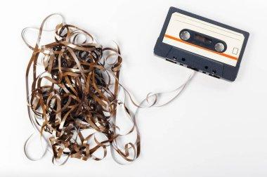 music audio tape isolated on white background