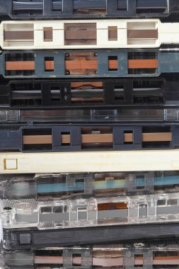 music audio tapes, close up view