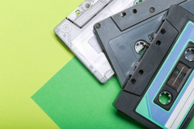 Cassette tapes on color background
